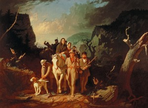 PHD29102 Daniel Boone escorting settlers through the Cumberland Gap, 1851-52 (oil on canvas) by Bingham, George Caleb (1811-79); Washington University, St. Louis, USA; (add.info.: Daniel (1734-1820) and his wife Rebecca travelling westwards to Kentucky;); American, out of copyright