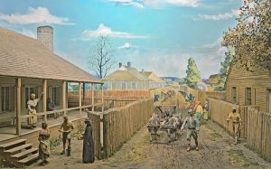 Diorama of life in colonial Ste. Genevieve, Old court House, St. Louis