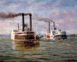 Painting of steamboats by August Norieri
